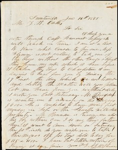 A. J. McElveen, Sumpterville, S.C., autograph letter signed to Ziba B. Oakes, 16 January 1855