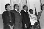 Black Family Reunion press conference participants listening to Dr. Height, Los Angeles, 1987