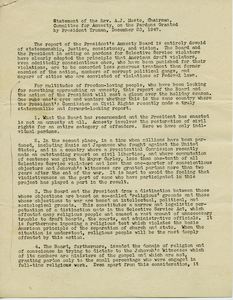 Statement of the Rev. A. J. Muste, Chairman, Committee for Amnesty, on the pardons granted by President Truman, December 23, 1947