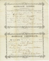 Marriage license of Caleb Gilbert and Eliza Ann Hazlett