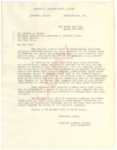 Letter from DeHaven Hinkson to Walter White