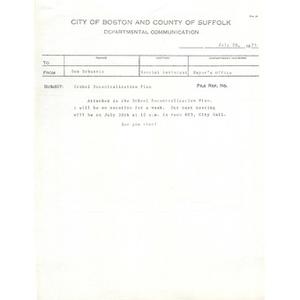 Letter, school decentralization plan, July 20, 1973.