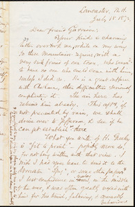 Letter from Samuel May, Jr., Lancaster, N.H., to William Lloyd Garrison, July 18. 1872