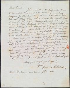 Letter from Frederick Samuel Cabot, West Roxbury, [Mass.], to Emma Forbes Weston, Sept. 1843