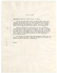 Memo from Walter White to W. E. B. Du Bois