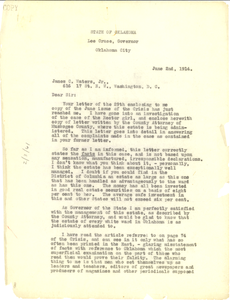 Letter from State of Oklahoma to James C. Waters Jr.