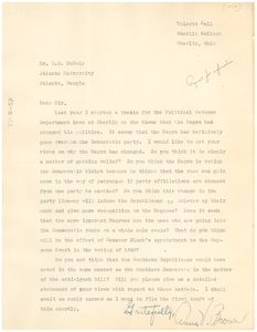 Letter from Anna V. Brown to W. E. B. Du Bois