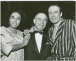 Diahann Carroll (Barbara Woodruff), Richard Rodgers (music) and Richard Kiley (David Jordon) backstage at No Strings