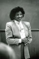 Phoebe Williams lectures at the front of the classroom, circa 1984