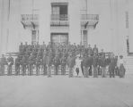 Copy photograph of an African American National Guard company on the steps of the Capitol in Montgomery, Alabama.