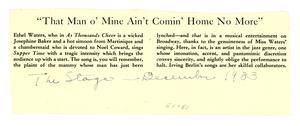 On Ethel Waters