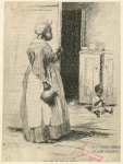 African American woman looking at child