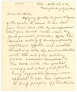 Letter from L. M. Hershaw to W. E. B. Du Bois