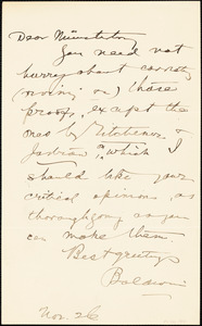 Baldwin, James Mark, 1861-1934 autograph note signed to Hugo Münsterberg, 26 November
