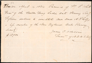 Receipt of the lifetime membership due from New-England Anti-Slavery Society, Boston, to Charlotte Phelps, April 14th 1834