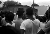 """Crowd gathered around a speaker on a downtown street in Mississippi, during the """"March Against Fear"""" begun by James Meredith."""