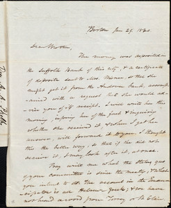 Letter from Amos Augustus Phelps, Boston, to James Gillespie Birney, Jan 29. 1840