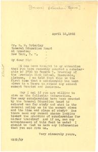 Letter from W. E. B. Du Bois to General Education Board