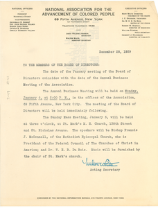 Circular letter from the Acting Secretary of the NAACP to the Board of Directors