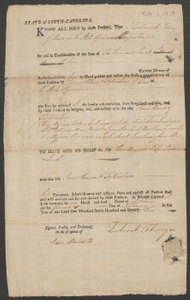 Bill of sale for three slaves: Toby, James, and Jacob, from Zachariah Flurry to James Prown, S.C.