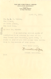 Letter from New York Public Library, 135th St. Branch to W. E. B. Du Bois