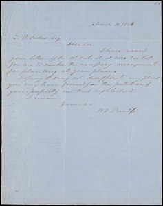 W.O. Prentiss, Buzzard Roost, autograph letter signed to Ziba B. Oakes, 16 March 1854