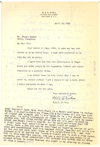 Letter from W. E. B. Du Bois to Ernest Beeman