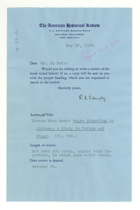 Letter from the American Historical Review to W. E. B. Du Bois