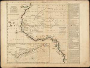 A new and correct map of the coast of Africa, from Sta. Cruz lat. 30 north. to the coast of Angola lat 11. S. with explanatory notes of all the forts and settlements belonging to the several European powers