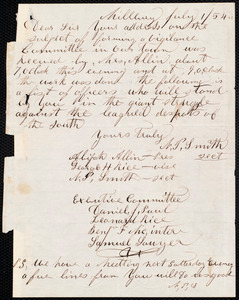 Letter from Citizens of Millbury [Mass.] to Theodore Parker, July 1 / [18]54