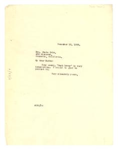 Letter from W. E. B. Du Bois to Rheba Cain