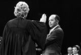 Janie Shores, associate justice of the Alabama Supreme Court, administering the oath of office to Mayor Richard Arrington in Birmingham, Alabama.