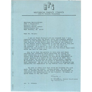 Letter, Mattleen Wright-Harris, May 20, 1981.