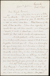 Letter from Samuel May, Jr., Leicester, [Mass.], to Francis Jackson Garrison, July 28 / [18]78