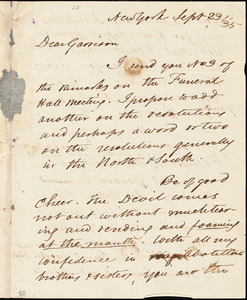 Letter from David Lee Child, New York, [New York], to William Lloyd Garrison, [18]35 Sept[ember] 23