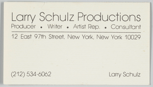 Business card for Larry Schulz Productions
