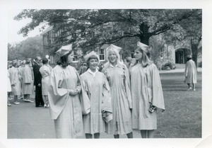 Class of 1966 graduation: Ann Whitehead, Deborah Little, Elizabeth Walker, Margaret Drewry Hanes