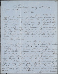 A. J. McElveen, Sumterville, S.C., autograph letter signed to Ziba B. Oakes, 13 May 1854