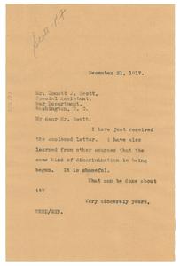 Letter from W.E.B. Du Bois to Emmet Scott