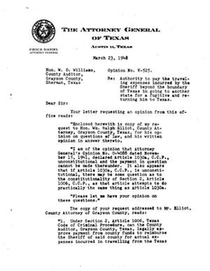 Texas Attorney General Opinion: V-525