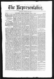 The Representative. (Galveston, Tex.), Vol. 1, No. 22, Ed. 1 Saturday, May 4, 1872 The Representative
