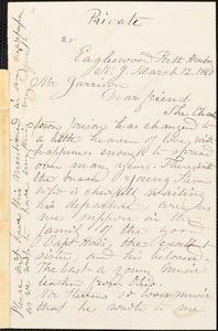 Letter from Rebecca Buffum Spring, Eagleswood, Perth Amboy, N[ew] J[ersey], to William Lloyd Garrison, 1860 March 12