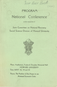 Joint Committee on National Recovery national conference program
