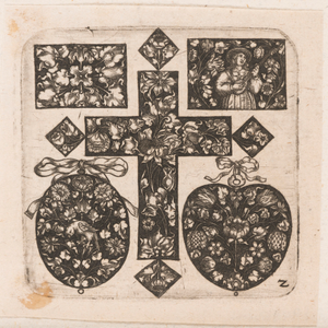 """Ornamental Design with Cross at Center,"" Plate 2 from ""Goldsmith Ornament Designs"""