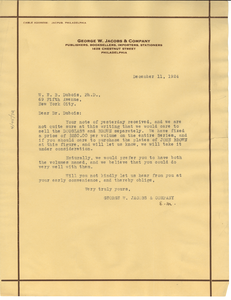 Letter from George W. Jacobs & Company to W. E. B. Du Bois