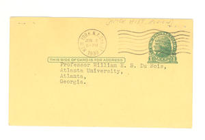 Postcard from the American Historical Review to W. E. B. Du Bois