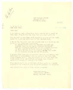Letter from Clarissa Jeter to W. E. B. Du Bois
