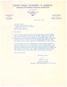 Letter from United Public Workers of America of Human Rights to Hugh H. Smythe
