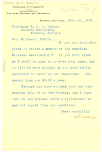 Letter from The American Economic Association to W. E. B. Du Bois