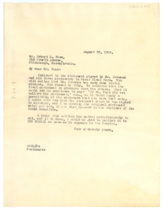 Letter from W. E. B. Du Bois to the Pittsburgh Courier